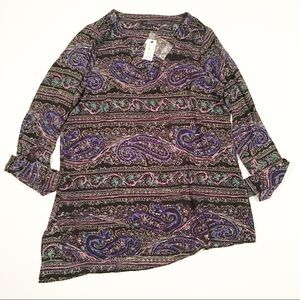 The Limited black blue blouse long sleeve small